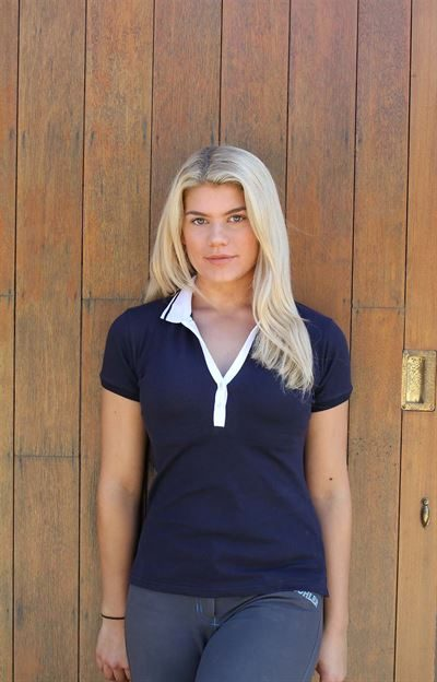 short sleeve polo top with white trim
