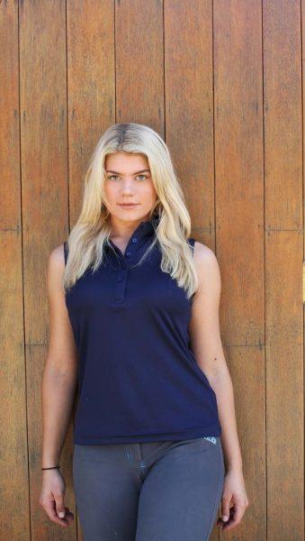 blue sleeveless polo 1