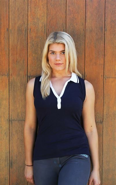 navy white trim sleeveless polo top 1