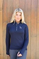 blue tech zip neck top 2+LOGO
